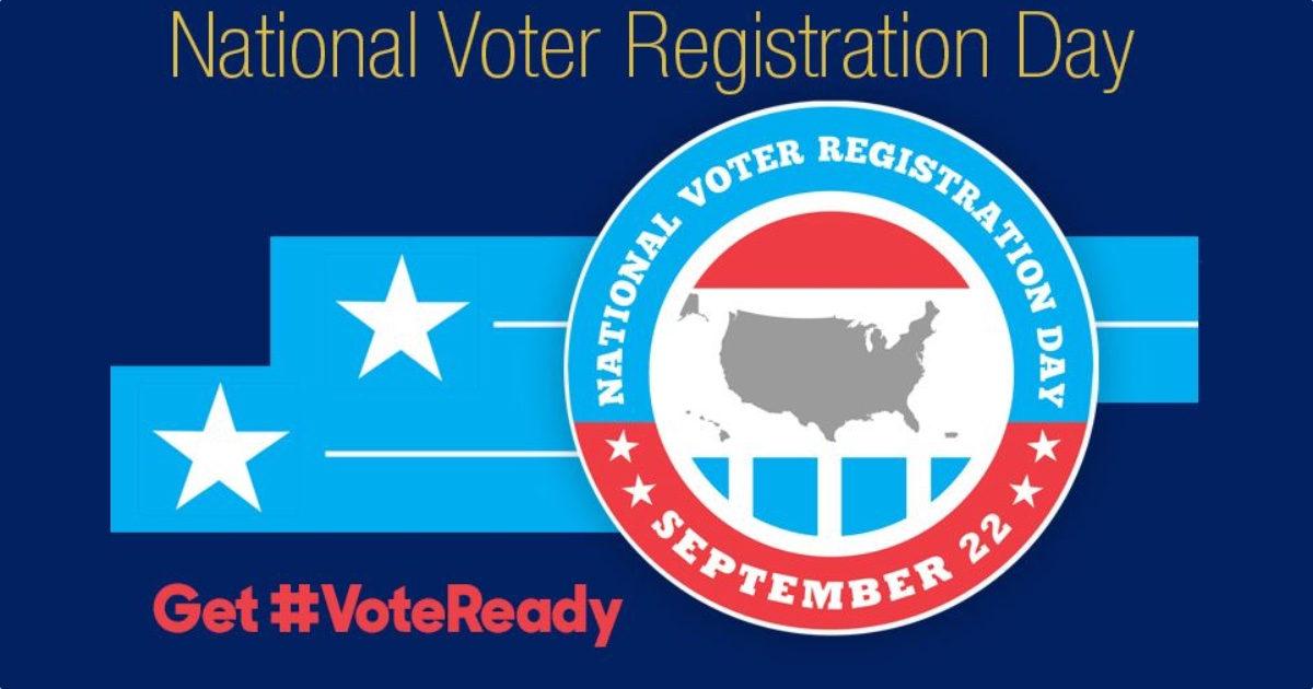 Logo for National Voter Registration Day - September 22 - Get #VoteReady