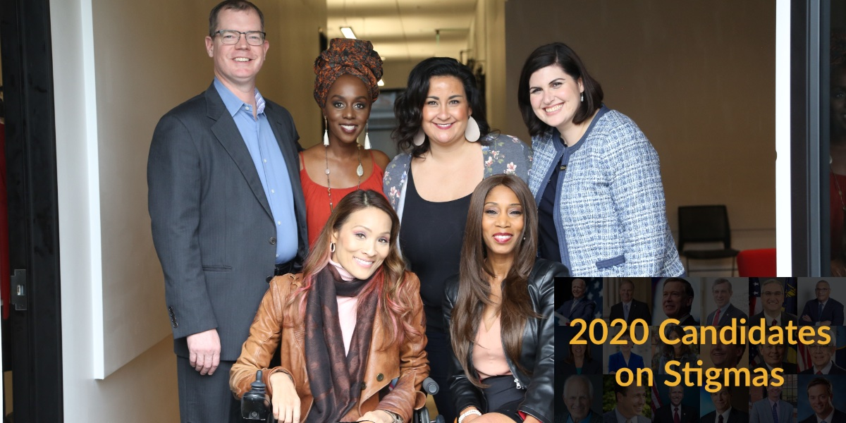 "Six diverse people with disabilities smile together in a hallway. Text on top of blurred headshots of 18 candidates in the 2020 election. Text reads ""2020 Candidates on Stigmas"""