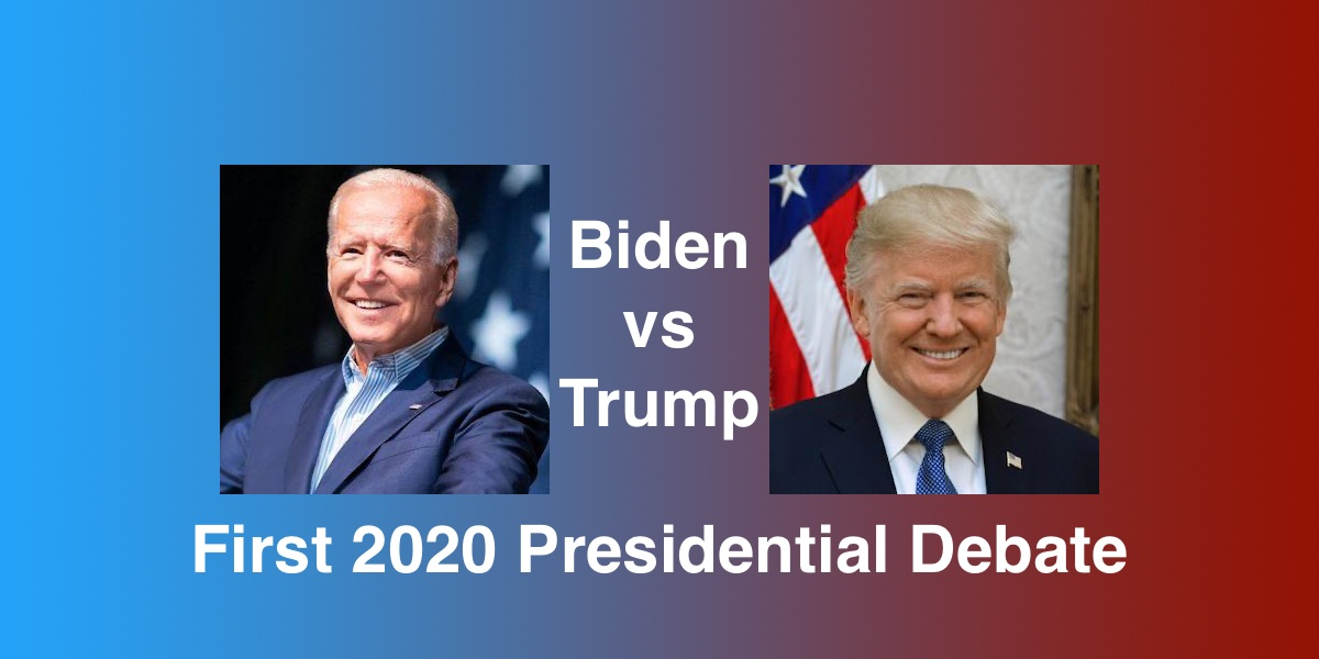 Headshots of Joe Biden and Donald Trump. Text: Biden vs Trump First 2020 Presidential Debate