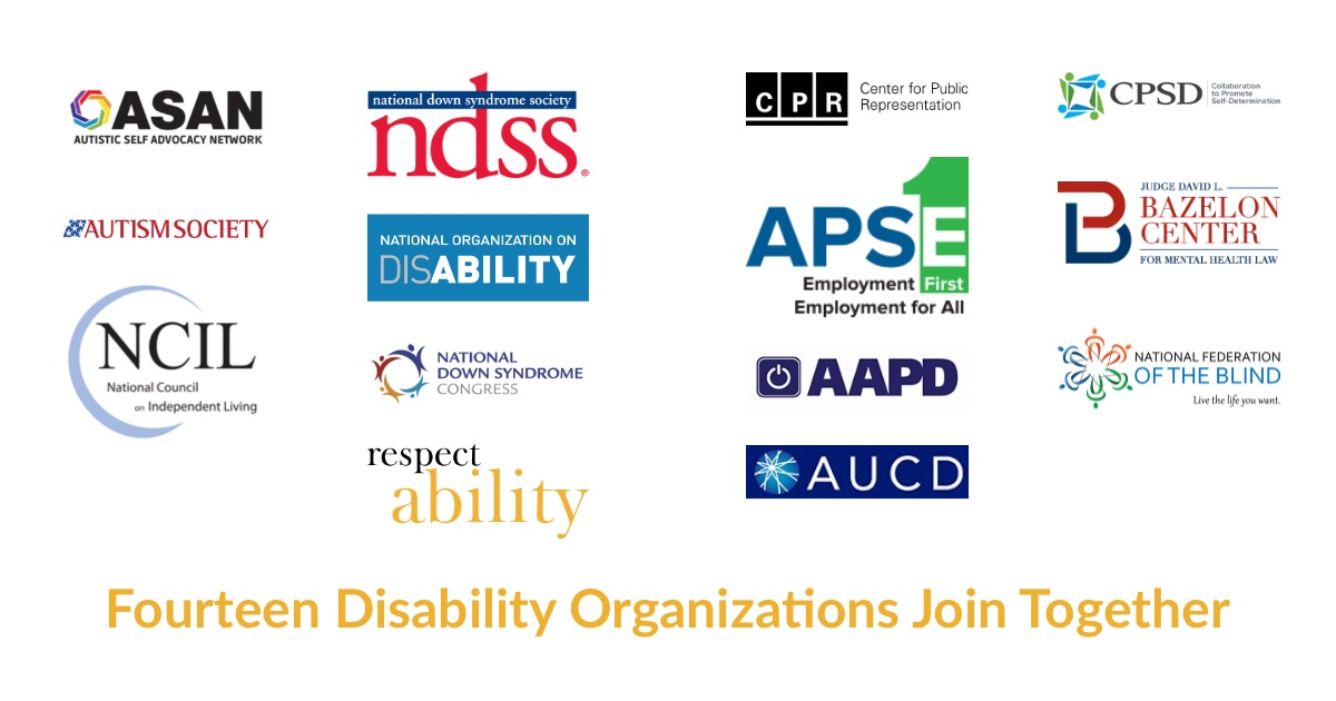 Logos of fourteen disability organizations that teamed up to encourage the community to vote. Text: Fourteen Disability Organizations Join Together