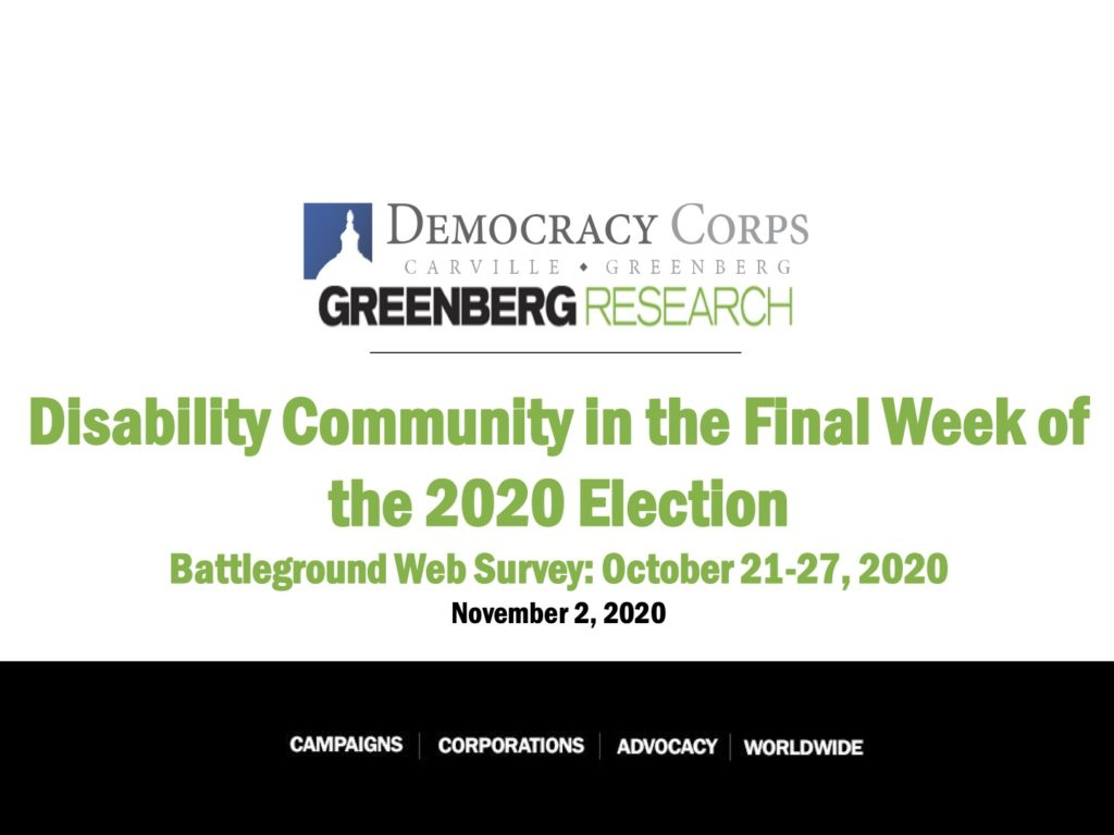 "Title slide for poll results of ""Disability Community in the Final Week of the 2020 election"""